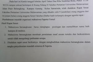 Mahasiswa Tulis Permintaan Maaf dan Komitmen Atas Kasus Meme